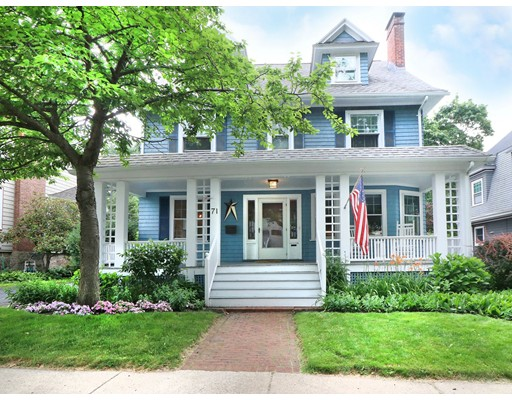 Highland Vintage Colonial with modern updates!  Beautiful front gardens grace the Grand porch entrance to vestibule with leaded glass.  Spacious rooms, high ceilings, warm wood floors, beautiful woodwork, updated kitchen with cherry cabinetry, granite countertops, peninsula + radiant floors opens to family room with easy access to deck overlooking fenced yard. Formal living room with gas fireplace and beautiful mantle, formal dining room with built ins, 3 spacious second floor bedrooms plus office that has access to balcony with new rubber roof and composite decking. Open staircase to 3rd floor master retreat or au pair suite consists of large bedroom with great storage and full bath, smaller bedroom.  Young roof, 3 zone Gas heat, updated electric, new French drain, walk out to yard.  Fabulous home offers great space, move in condition located in one of West Roxbury's finest neighborhoods.  Convenient to vibrant Centre St. with retail, restaurants, Roche Bros + commuter Rail to Boston.