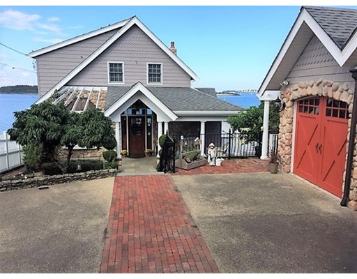 This direct waterfront Conventional style home offers a rare opportunity to own on the water in desirable Houghs Neck!  Offering beautiful water views from inside & outside, this set-back property features an open living/dining area surrounded by ceiling to flr windows that let in plenty of natural light, a modern kit w/breakfast bar, skylights & SS appliances, column pillars & gleaming hardwood flrs. Fabulous 2nd flr Master Suite has an en-suite bath w/ jacuzzi tub,steam shower, walk-in closet, skylight & private deck overlooking the water.  The semi-finished bsmt boasts another 1/4 bath.  Enjoy the breeze from the expansive deck off the 1st flr w/stunning water views or have your morning coffee on the open front porch.  The professionally landscaped grounds offer a charming side stone patio area, a det 2 car garage w/stone detailing & 4 off-street pkg spaces.  Ownership to low water mark. Bonus: your own boat mooring & private stairs that meander to water & beach!!