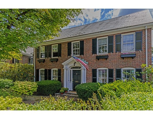 Classic center entrance brick colonial in prestigious Chestnut Hill location.This 5 bedroom, 4 1/2 bathroom residence has a welcoming entry hall which opens to a  living room with a fireplace and gracious dining room.The kitchen features granite counter tops with island and hardwood floors adjacent to a bright and sunny family room. There is a large mudroom with custom built in storage and laundry facilities. Spacious and elegant master suite with cathederal ceilings, fireplace, master bath, ample  storage and a balcony. A special fifth bedroom on the third floor has a beautiful full bath. The finished lower level has a large entertainment room with full bath. There is a lovely enclosed back yard with an unfinished charming cottage with many possibilities. Other features include 7 heating zones,3 AC zones, and beautifully landscaped grounds. This amazing location is close to public transportation, upscale shopping, gourmet restaurants with close proximity to Boston.