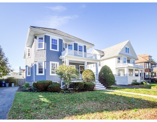 This 2nd floor condo was previously a 2-family  owned by same family for over 60 years. 2nd floor unit- Nicely remodeled kitchen & bath, refinished wood floors throughout, custom woodwork, updated windows, plumbing & electric.  Slate roof. Much sought after location...Convenient to train, grocery shopping, restaurants, etc.