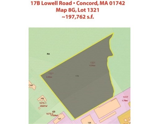 17B LOWELL ROAD, Concord, Massachusetts, MA 01742, ,Land,For Sale,4943209
