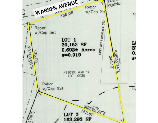 Tour these incredible new lot offerings on desirable Warren Avenue!  Conveniently located near Route 6 shopping in Seekonk, Four Town Farm, easy highway access and just over the Barrington line! These lots are beautiful and there are only two to choose from! The lots have been cleared and don't have any wetlands. Perfectly sized at just under one acre with a conventional rectangular shape. Offered exclusively through Oracle Homes.  Let's talk about what your building options could be on this incredible site! Bring your own house plan or design something with our design team. No HOA fees, public water supply, no restrictive covenants, perc testing completed and wetland delineation.  Ready for building!