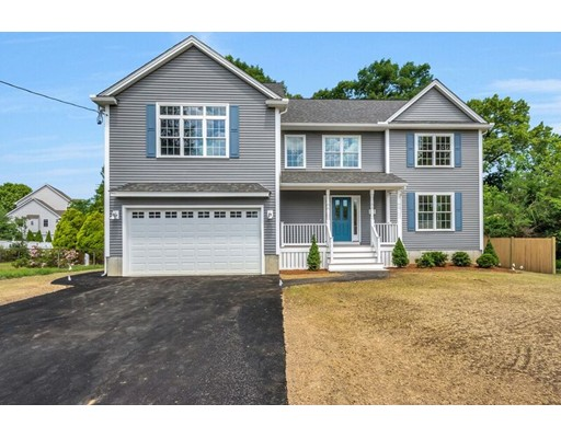 """NEW CONSTRUCTION -- Under Construction!!! This beautiful 8 Rm Colonial features 4 bedrooms and  2.5 tiled bathrooms. The private master bedroom has its own en suite with a walk in closet with a cathedral ceiling. This well built home offers a farmer's porch, an open concept floor plan and gleaming hardwood floors throughout both levels. The spacious gourmet kitchen amenities include stainless steel appliances,granite counter-tops, breakfast bar and an adjacent  E-I-K area which opens to an exterior deck.  The full basement has a  walkout to the yard  and is awaiting you personal finishes. Located on a cul-de-sac in a mature neighborhood it also has easy access to Rtes. 93 and 128  along with convenient access to shopping,parks,schools,churches and public transportation- A COMMUTER""""S DELIGHT!  Enjoy your fireplaced family room with cathedral ceilings and appreciate the quality aspects of this home!!!  This home is just waiting for YOU!"""