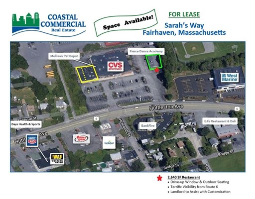 Join high-volume CVS, and Pet Depot on busy Huttleston Avenue /Rte. 6, Fairhaven!! Excellent units with 2,000 SF & 3,622 SF end caps available!  Large pylon opportunity on new sign (part of a recent $1M renovation for the shopping center)  Well-positioned on Route 6 at the major signalized intersection, allowing for great access and exposure with almost 20,000 cars per day!  Rent negotiable. Call TODAY !!!