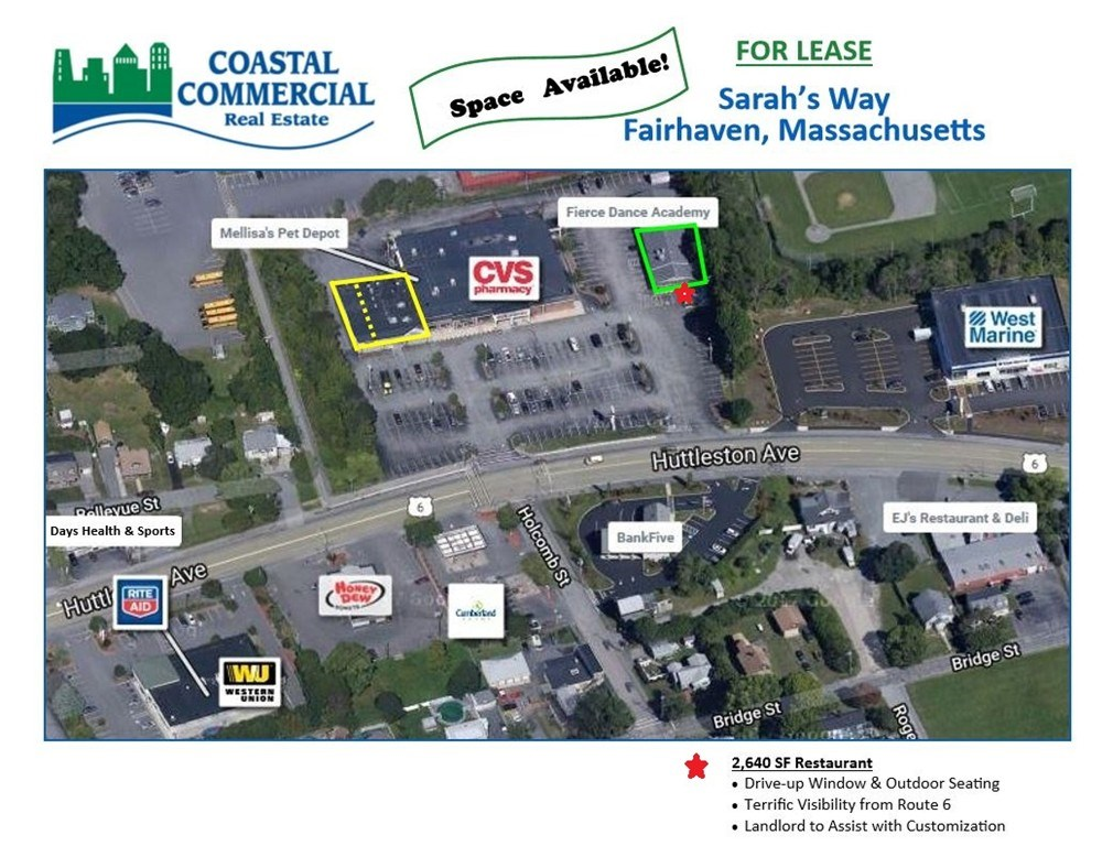 Join high-volume CVS, and Pet Depot on busy Huttleston Avenue /Rte. 6, Fairhaven!! Excellent unit 2,600 SF available!  Large pylon opportunity on new sign (part of a recent $1M renovation for the shopping center)  Well-positioned on Route 6 at the major signalized intersection, allowing for great access and exposure with almost 20,000 cars per day!  Rent negotiable. Call TODAY !!!