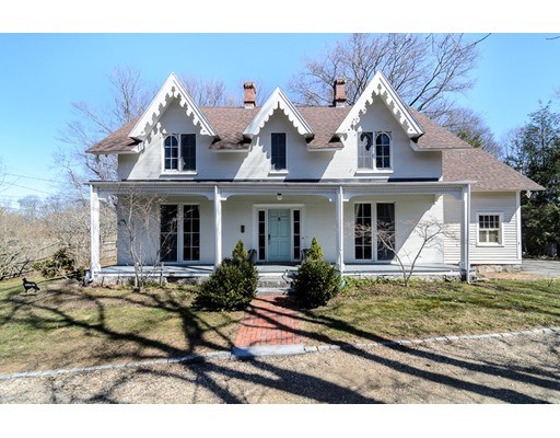 Pretty c.1845 Gothic Revival tucked away on nearly 1/2 acre on private way in Precinct 1. Lovely high ceilings and floor-to-ceiling windows. First floor includes spacious living room with fireplace and adjacent sitting room, dining room with marble fireplace, cozy den, half bath and fully renovated eat-in kitchen with marble countertops, Viking, Subzero and Bosch appliances and attached butler's pantry. Pretty enclosed outdoor patio off kitchen. Four corner bedrooms on second floor including master with large private bath and separate large family bath. Recent upgrades include brand new HVAC system and new portion of roof. Steps to the village center and public transportation.Easy access to highways and trains to Boston, Providence and NYC.
