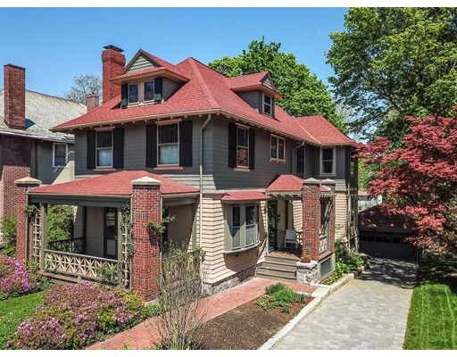 "Offers due 5/20 @ 5:00pm. Spectacular 1910 Arts and Crafts home that has been lovingly restored and stewarded and is ready for its next owner! Located in West Roxbury's finest ""Highlands"" neighborhood on 14,400 sf of land! This 2,900+ sf masterpiece is well appointed with fine custom details & wood work of a bygone era. The warm inviting living room offers a beamed ceiling, wood fireplace and window seats. The formal dining room has a banquet size china cabinet & butlers pantry leading to the sunny kitchen which was renovated with custom wood cabinets & fire slate countertops overlooking the gorgeous rear yard and brick patio. Rich wood detail & wood floors throughout. The second floor offers four well proportioned bedrooms. There is also a walk-up 3rd floor offering great home office space or additional bedrooms. Two full baths. Many built-ins, storage galore, full basement, 2 car garage, convenient to downtown mere steps to Commuter Rail, Centre Street, local restaurants & shops!"