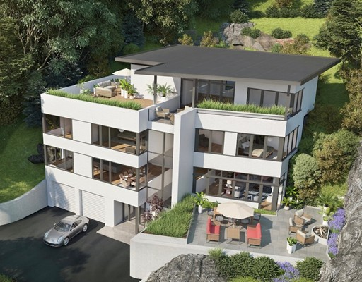 A triumph in both architectural design and build execution. This modern hillside home sets a new standard of livability, function, and aesthetic. Overflowing with natural light throughout all four levels and ceiling heights ranging from 9-12 feet reveal state-of-the-art technology and finish. An open concept floorpan and access to fenced private patio on the main level, 5 bedrooms with en suite bathrooms, and top floor lounge including entry to roof deck with integrated green roof garden providing spectacular long views of Vine Brook Conservation land. Direct elevator access to every floor from 1st floor foyer. Two blocks from Massachusetts Avenue, Lexington Center; sophisticated urban living in one of New England's most historic towns.