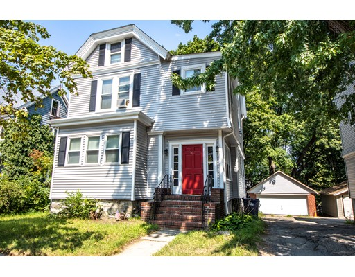 Great investment opportunity just a short distance to Trendy Roslindale Village! 3 family with two car garage, Unit 1 recently renovated (1) BR with open concept, Unit 2 older (1+/2) BR, Unit 3 (1) BR.  Unit 1 and 2 have common heat (gas forced air) included in rent, Unit 3 electric baseboard heat. 4 gas meters:each unit separate hot water and cooking (gas). Electric: (3) 60 amp panels for units, (1) common. Rents bit below market with long-term tenants.  Garage rented for $125 mnthly.  Good yard space and plenty of parking. There may be other potential uses, buyer to do their own due diligence.  Group showings only/Advance notice required.