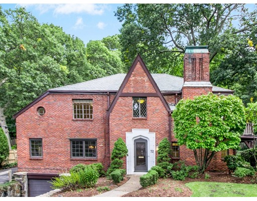 Warm and spacious, brick, tudor-style home located in Chestnut Hill's sought after Baker school district. A backyard oasis with private terraced fenced-in yard, sport court, heated in-ground pool, and entertaining deck! The kitchen offers cherry cabinetry with built-in banquet for dining, dual sinks, 3 ovens, and more. An open floorplan to the family room with new carpet and access to the backyard. Separate formal living and dining rooms with arched doorways. The second level offers a large master bedroom suite with luxe bath and ideally designed walk-in closet. An additional bedroom offers ensuite full bath, dual closets, and private exterior deck. Two more bedrooms, one with exclusive built-in study space, share the third full bath. A finished basement with game room, full bath and lots of storage. Superb location to walk to the Baker school, conservation land, the shops at Putterham, and 51/37 bus routes. Easy access to Rt 9, the Green Line T, and upscale Chestnut Hill shopping.