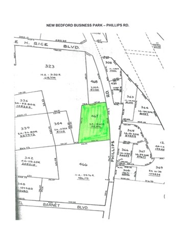 3.5 acres of Industrial Commercial Zoned Land for Sale. 60 day permit approval.  Low cost building & equipment financing.  Property tax discounts, sales investment tax credits.  Corner Lot to Main Entrance of the New Bedford Business Park.  Park Advantages include:  Modern Telecommunications Infrastructure, Child Care, Bank, Restaurant, Park Security, Protective Covenants, Bus Service to and within Park, plus CSX Freight Rail Line running through Park.