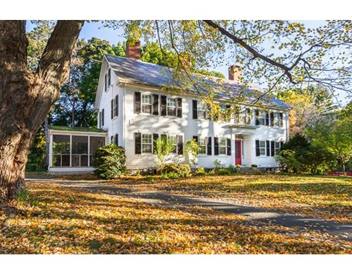 FIRST SHOWINGS AT OPEN HOUSE. Beautifully updated circa 1730 colonial on 2 acres in Wenham estate setting. The Captain Dodge House has been lovingly maintained and thoughtfully updated for today's living while preserving period details including historic moldings, mantels, wood floors, window shutters and 9 fireplaces. Architect-owned 4-bedroom home offers a large, eat-in elegant chef's kitchen with fireplace and generously sized living spaces throughout. Master suite with 2 fireplaces, en suite bath and sitting room. Front and back staircases. 3rd floor bonus room. Updated systems. Set on 2 acres with mature trees and gardens, rolling fields and stone walls, this property includes two barns -  an English-style post & beam and a 2 car garage, storage and a studio/office with a wood stove for heat.  Sidewalks to town with easy access to highways and trains for commuters, and located in the highly rated Hamilton Wenham Regional School System.  Potential of 2nd lot (see firm remarks).