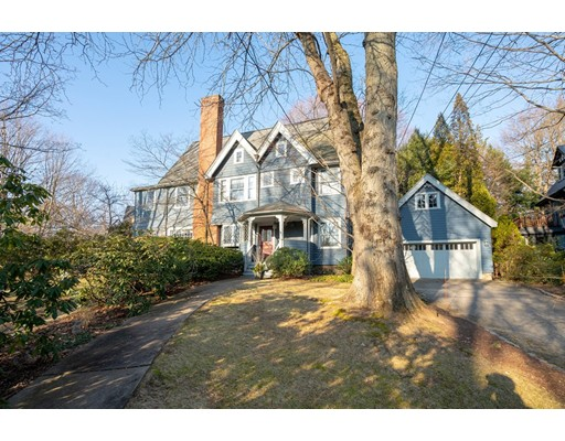 """Situated in the most sought after Olde Chestnut Hill neighborhood and on one of the most desirable streets. This pleasing Victorian features special detail and a livable layout. Welcomed by an entry foyer with fireplace, and flanked by a formal living room to one side and a large dining room on the other. The first level also features a sun room, butler's pantry with lots of cabinet space and a prep sink. The kitchen includes a large eating area and opens directly to the family room which overlooks and accesses the bluestone patios. The 2nd and 3rd floor offer a versatile use of rooms including 5 bedrooms, an office, a sitting room and a billiard room. The lower level has finished space as well as laundry and storage. There is a 2 car garage. The Chestnut Hill T stop, Boston College, and The """"Street""""  are just around the corner. Easy access to downtown and medical facilities."""