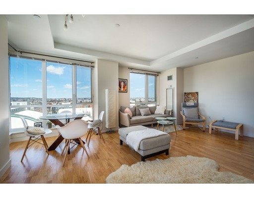 You will love this luxurious & sprawling two Bedroom-two bath atop the highly desirable 100 Station Landing in Assembly Sq!  Wonderfully renovated with high quality finishes & details throughout. This fine home features a chef's kitchen with granite counters, high end appliances, ample storage space, gleaming hardwood floors, high ceilings, many sunny windows with magnificent river & city views from every room & on your own private balcony!! Other features include two wonderful spacious bedrooms, two full tile and marble baths, one with custom shower & soaking tub, and in unit washer/dryer & a garage parking space!!    100 Station Landing is a beautiful concierge building featuring a modern fitness room & enormous common lounge/business room with magnificent views!  Living in Assembly Row/Square you are a very short walk to the Wellington T stop and 10 minutes from Downtown Boston. You can choose from dozens of  fine restaurants, scores of stores & cafes, a movie theater, & much more!