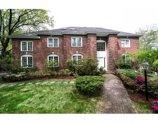 An exceptionally constructed 1994 built brick facade colonial in a prime, renowned neighborhood in Chestnut Hill Historic District. Short stroll to Reservoir. Conveniently located minutes from Green Line T-Stop. This 5,200+ Sq. Ft. brick colonial on 15,000+ Sq. Ft. lot features 5 BR, 4 Full and 1 Half Baths.  One of the young colonial houses on the street.  Cathedral ceiling family room with skylight and fireplace leading out to brick patio, formal dining room, kitchen with island, granite counters, breakfast nook and pantry.  Hardwood flooring throughout 1st, 2nd, and 3rd level.  Finished basement features custom cabinets and built in book shelves throughout. 3rd floor with skylight perfect for au pair.  Exceptional property those who seek craftsmanship and location.