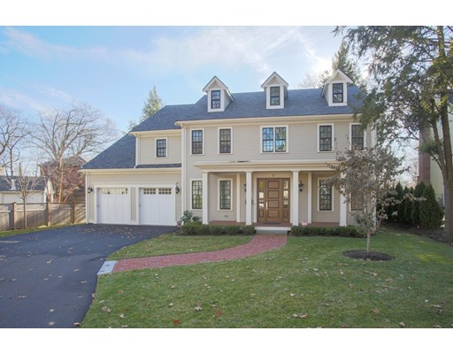 Picture Perfect! 2017 Construction in Chestnut Hill Brookline. Bright and beautiful, contemporary layout with classic colonial touches. Gorgeous finishes and upgrades featuring a Chefs kitchen w/ island, built-ins, Wolfe and Sub-Zero appliances. A stunning family room-perfect for entertaining has french doors and opens up to a sophisticated, fireplaced living room. Formal dining room with wet bar. Dramatic, two-story foyer to the second level- offering an oversized master bedroom with walk-in closet &luxurious bath w/ soaking tub & heated floors. Three additional en-suite bedrooms plus laundry room complete 2nd floor. Finished lower level is outfitted with a home gym, play/rec space, and an additional full bedroom with bath. Gorgeous, level back yard with elegant loggia and stone patio. 2 car attached garage, built out mudroom. Checks every box! Incredible Chestnut Hill, cul-de-sac, neighborhood. Convenient to Longwood Medical, The Street, Shops at Chestnut Hill, + Boston.