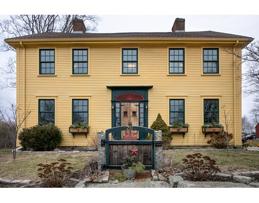 Old/historic house enthusiasts take note! The Abiel Pierce House was built in 1824. This much-admired antique Colonial is set in a bucolic setting and has been lovingly renovated through the years. There are many original features such as flooring, woodwork and fireplaces. Modern updates include kitchen, windows, roof, exterior siding and trim, and a whole house generator. This 5 bedroom/2 bath home offers generous-size rooms for entertaining, relaxing and dining. The family room looks out to a beautiful patio and pergola and the sizeable yard offers all kinds of opportunity for play and garden in the warmer months. Please see the attached History Information document outlining the evolution of this historic property. Solar panels are owned. House sale subject to seller finding suitable housing. 24 hour notice for all showings!