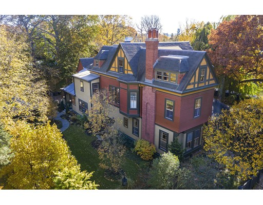 Majestic 1883 Queen Anne/Stick Style Victorian built by renowned architect Henry Van Brunt sits on sunny side of prestigious Brattle Street in historic Old Cambridge. Lush period gardens and outdoor living spaces create a private sanctuary amid the city bustle.  2006 Preservation Award presented for this authentic historical restoration of over 8,000 sq. ft. of Victorian luxury; consisting of a master wing with en-suite, dressing room and study; 4 additional en-suite bedrooms, 6 fireplaces, 3rd floor au-pair/in-law suite, vintage designer kitchen, custom vaulted brick wine cellar, vintage hardware throughout, State of the Art systems, decorative shingle siding, red cedar clapboards, copper lined gutters, original restored windows, granite/brick driveway w/2 car garage, irrigation system, home security & much more. Walk to Harvard Square, BB&N and Shady Hill Schools; Charles River Reserve, renowned universities, social events, cultural venues, restaurants, and museums.