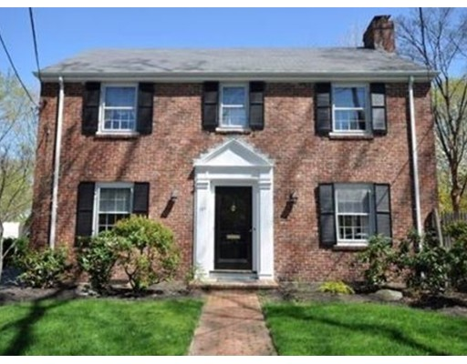 Lovely center entrance colonial on coveted Reservoir Rd. Gracious floor plan includes a large living room with fireplace, separate formal dining room, eat-in-kitchen with updated appliances, small mudroom area and half bath. The second floor includes a large master bedroom with walk in closet, two additional, sunny bedrooms and a full bath. The finished basement can be used as a playroom, den or exercise room. Additional storage closet and storage room in basement. Private driveway, 2 car garage, outdoor patio and yard complete the exterior space. Steps to wonderful Heath school.  Convenient to Rt. 9, T, Chestnut Hill shops and easy commute to the city. This home is the quintessential charming colonial in a great location.