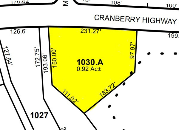 40,000 sq. ft. lot located on busy Rt. 28, Cranberry Highway, in a general commercial area.  The lot is level and has a 200 ft. frontage