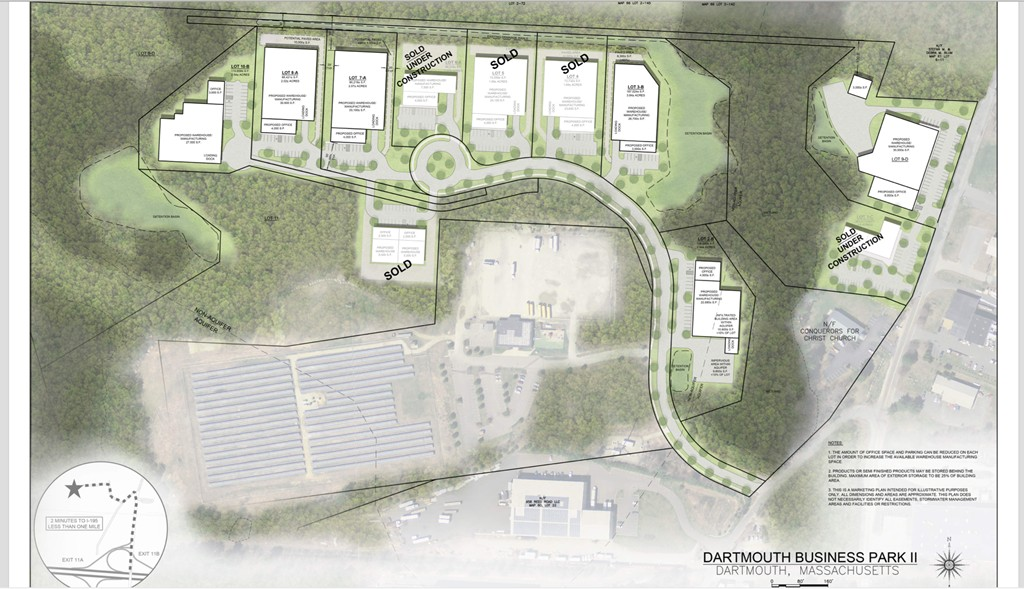 Dartmouth Business Park is less than one mile form Route 195 (Exit 11).  There are six lots remaining for sale in the eleven lot subdivision zoned limited industrial.  Lot 9D can accommodate 30,000 SF Warehouse/Manufacturing, 8,000 Office or any variation in this range.  With limited inventory of buildings for sale, this is a prime opportunity to design/build to meet all the requirements of the business.