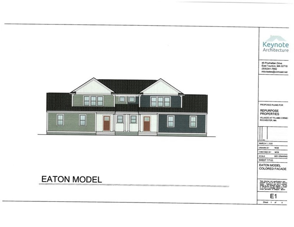 Introducing the Eaton, a new 1760 square-foot 2 floor design duplex home located in The Village at Plumb Corner. EMBRACE Rochester's newest Active Adult community in Historic, downtown Rochester.Enjoy the large Clubhouse with fitness room, business center and large hall for your gatherings. RELAX in the outdoor heated saltwater pool or just enjoy sitting under the covered porch with friends.Every home has a 2-car attached garage, 12x10 composite deck, full basement, and lush landscaping.  The Master bedroom with en-suite with double vanity, 2 closets and laundry for convenience. Open floor plan with a vaulted Living room ceiling for a spacious feel.The Kitchen boast granite counters,recessed lighting, stainless steel appliances and soft close cabinets. You will enjoy your privacy as each duplex is spaciously separated throughout the development. EXPLORE the Rounseville II Preserve looping nature trail for morning strolls or evening walks conveniently located directly behind the Village
