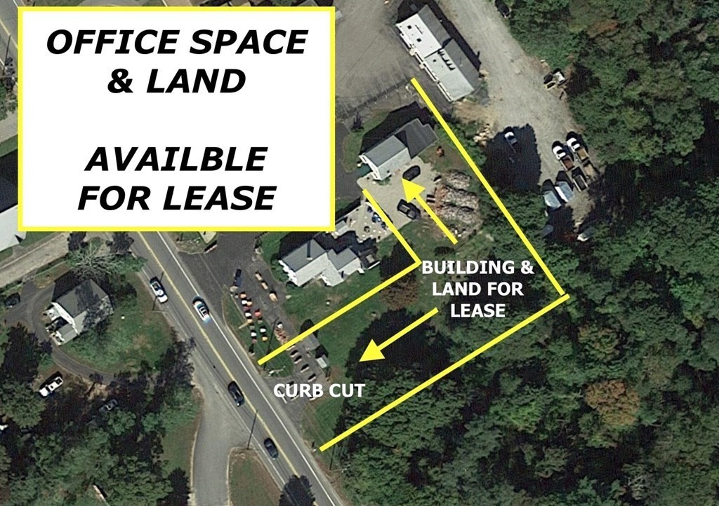 Land for lease with a small office. Multiple options and configurations available here. Office space, parking spaces, curb cut plus 1/2 of an acre for outside display, materials, trucks, staging, etc. What do you want to do? Convenient 195, 28, 495 access. High traffic and visibility location, ample area to spread out. Cranberry Hwy signage. Commercial General zoning allows for a wide range of allowed businesses. Tenant pays unit utilities.