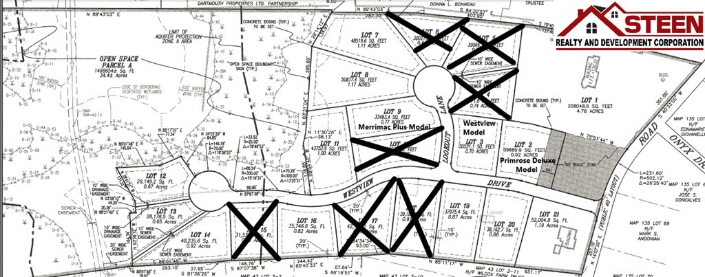 Lot 13 of the exclusive new 21 lot subdivision known as Westview Estates. Westview Estates consists of 21 lots (9 remaining) ranging in size from 28,000 sq.ft. to 52,000 sq.ft. Ownership includes proportionate ownership of a 34 acre open space parcel fronting on the Paskamansett River and located adjacent to the home sites. Accessible walking paths are located throughout this open space parcel. Enjoy beautiful sunsets overlooking the Paskamansett Valley. All town utilities including water, sewer, natural gas, underground electric and ctv. Lot prices range from $379,900 to $399,900. Restrictive Covenants. Minimum sq.ft.of 2,500 living space. Home packages available starting at $789,900.