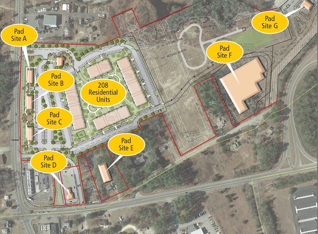 4 commercial pad sites for lease located on site in front of 208 luxury apartements (coming soon).  3 sites fronting on route 28, 1 site with the potential for a drive-thru fronting on Route 58.   Pad sites available for retail, commercial, restaurant, office, etc on site.  Parking adjacent to each retail/office location.  Will build to suit or ground lease.  Close to Middleborough commuter train station and easy on off of 495.  Located at the intersection of Routes 495 and 195.  Nearby courthouse, cinemas, restaurants.  5 minutes to Wareham crossing.  25 minutes to Plymouth.  Last exit before cape cod connector.  ALL COMMERCIAL/BUSINESS HAVE SIGNAGE AVAILABLE ON 495!  Signage also available at site on either Rte 28 or Rte 58.