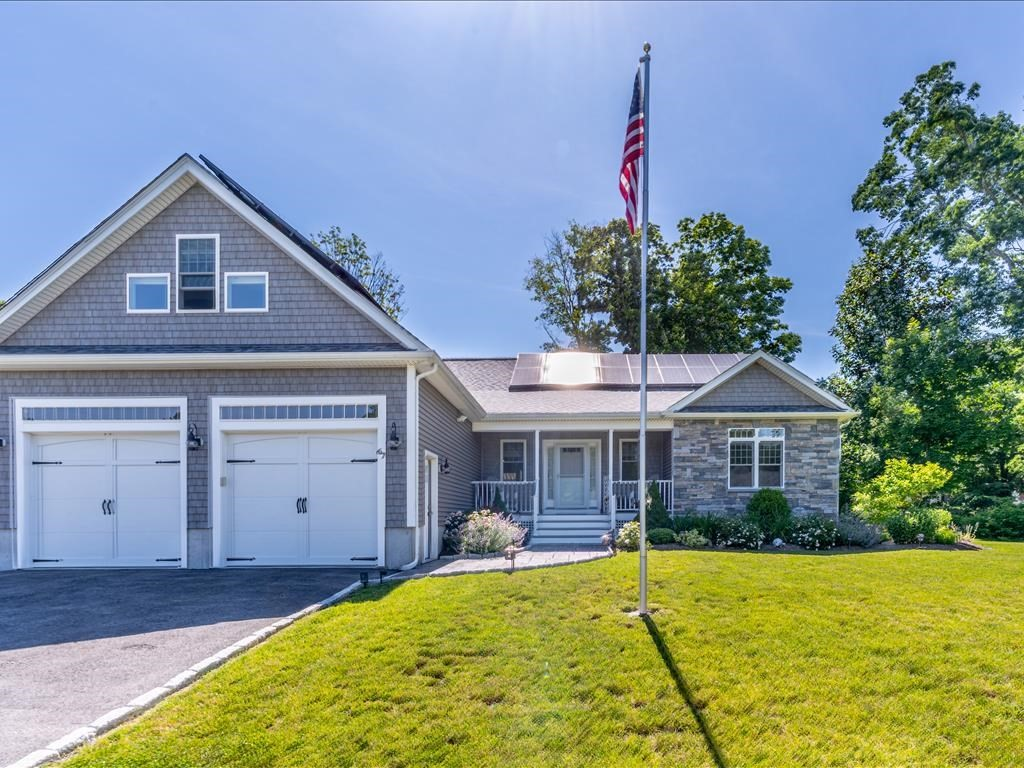 Custom Built Single Level home located on a cul de sac!  Built in 2018 w/2x6 construction, the elegant foyer flows into the Living/Dining Rm. with a gas fireplace, built in cabinetry & french doors to a rear deck w/a retractable awning.  The kitchen overlooks this area & features a good sized breakfast bar, center island & quartz counters. A spacious master suite has a custom designed walk in closet & a master bath w/a double vanity sink, walk in shower & ample linen storage.  There is an office/nursery too!  The laundry room w/sink is conveniently located adjacent to the additional bedrooms. A bonus room on the 2nd level would make a great recreation or exercise room. The exterior features a front porch, stone work, pet enclosure & a storage shed.  Additional features include professional landscaping, sprinklers, full house generator, electric car charging hookup, water filtration system & owner owned solar panels (Minimum Electric Bills!!). Great Highway Access!