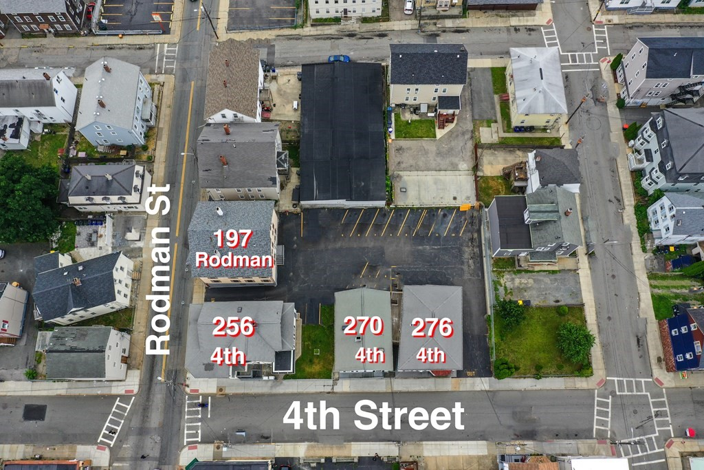 Great Investment Opportunity! 4 seperate well maintained Multi-Family dwellings, 254,270,276 4th Street, and 195-197 Rodman Street. Full Office space on the 1st-floor(254 4th Street). Annual Gross Income of  approximately $300,000.00 with potential increase possibility. Buildings have combined square footage of 15,988+ Sq. ft. (69 rooms), all Tenants at Will, no Leases. Plently of parking including approximately 18 rented assigned parking spaces, Security Cameras on-site, secured coin-op Laundry room in the basement. Convenient private mailboxes for each tenant, in and out driveway design. Maintenance/Management crew available. Only 59 minutes driving distance to Boston, 25 minutes to Providence, and 3 hrs. 27 minutes to New York. Fall River/New Bedford/Boston commuter rail route operations scheduled for 2023.