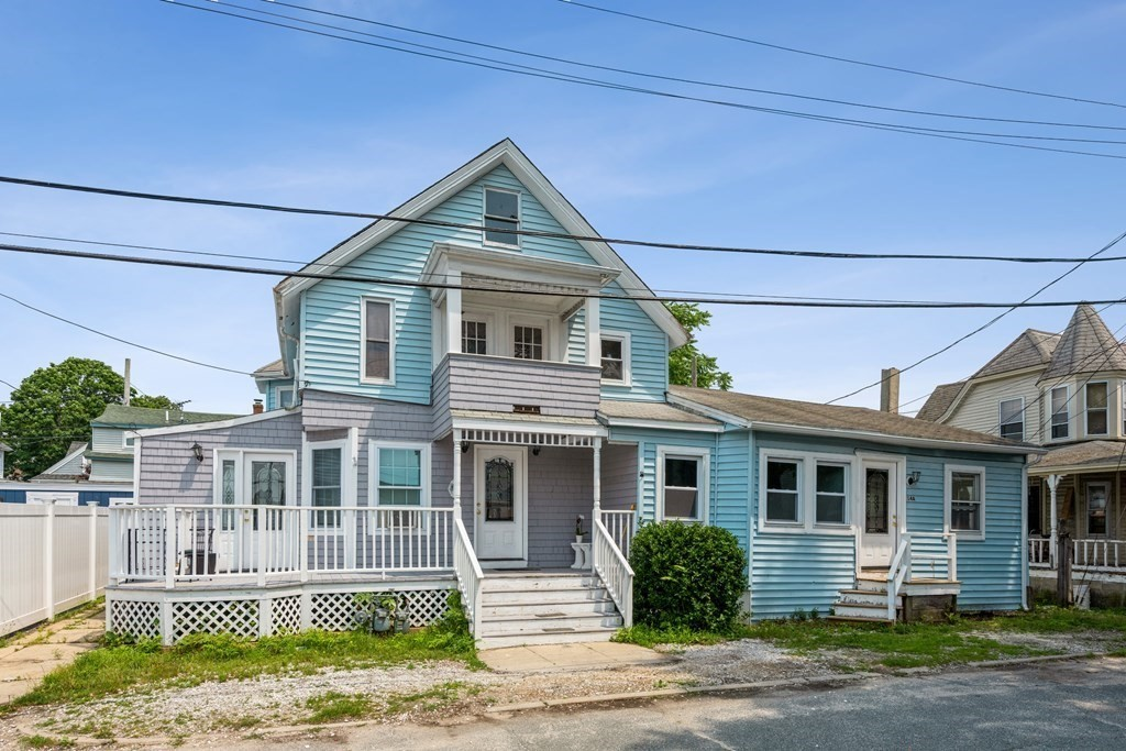 Rarely available multi family located steps away from Broad Cove. A  two family with one 4br/2ba & 2br/1ba units sits in front. And a single family cottage with 1br/1ba in back. This location can't be beat! Sold As Is Condition.
