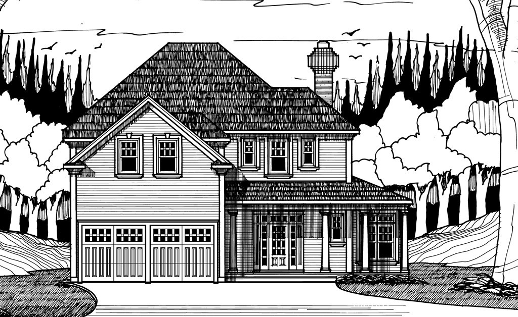 Welcome to Abby Woods, North Grafton's newest subdivision with public water, sewer, and natural gas.  10 spectacular, level lots, all are half acre and above.  Excellent proximity to highways, schools, shopping.  The striking Ellis plan offers a 6' deep wrap-around porch, hip roof, vinyl siding, front door with full sidelights, and a paver patio.  The versatile floor plan offers a large eat-in kitchen with options on the layout (see listing agent), formal dining, 22' family room w/fireplace, and a private study on the first floor.  Second floor contains four very generous sized bedrooms including a master suite with two double closets, full bath with 7'x7' tile shower and double vanities. The master bath can be redesigned to include a tub, if wanted.  Secondary bedrooms are very well sized.  Prefinished hardwood flooring throughout first floor (not half bath), stair treads, second floor hallway.