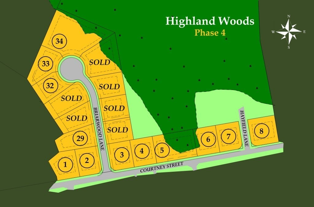 New construction in the Highlands!  Single family house lot in Phase 4 a brand new 18 lot phase of the highly sought after Highland Woods subdivision. Lots will not be sold individually, customers are to select a home model (prices vary) and the price of the specific home model will be added to the price of the lot.  Home packages start around $500,000. (Lot price + home price)  Please contact listing agent or listing office for specific model pricing and information.