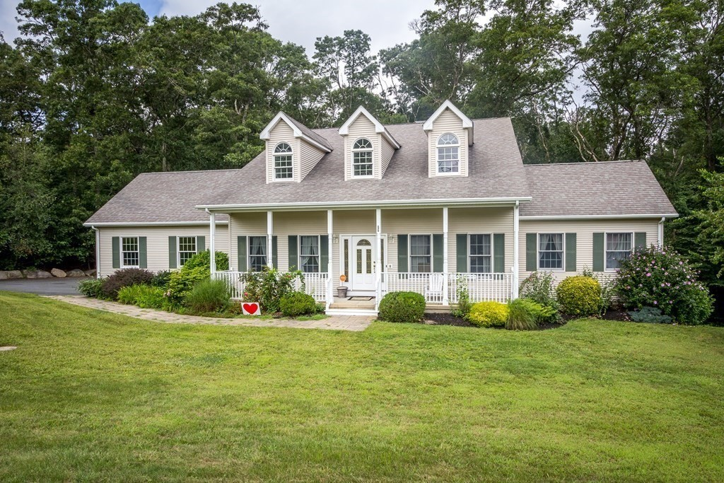 Beautiful, expanded 4 BR, 2.5 bath culdesac Cape in Tiverton's Indian Rock Estates! This spacious, light & bright home features a 2.81 acre lot, gleaming hardwood floors, 1st floor master BR suite w/ full bath (jacuzzi tub, separate shower & double vanity) & walk in closet, formal DR w/ pocket doors & kitchen w/ breakfast nook & solid oak cabinetry.  The entry foyer & den have vaulted ceilings & are open to the LR w/ wood burning fireplace & multiple sliders to the deck overlooking the backyard, rear patio (wired for hot tub!) & green space.  The main level also has a guest half bath & ceramic tile laundry room. Downstairs is a wide open, tiled, walk out lower level w/ billiard room, home theater, entertainmentarea & utility & exercise rooms w/ double sliders leading to the rear patio & firepit. Upstairs are 3 ample bedrooms & another full bath. Extras include the 2 car garage, storage shed, 2 c.air zones, MegaStore indirect water heater & generator hookup.