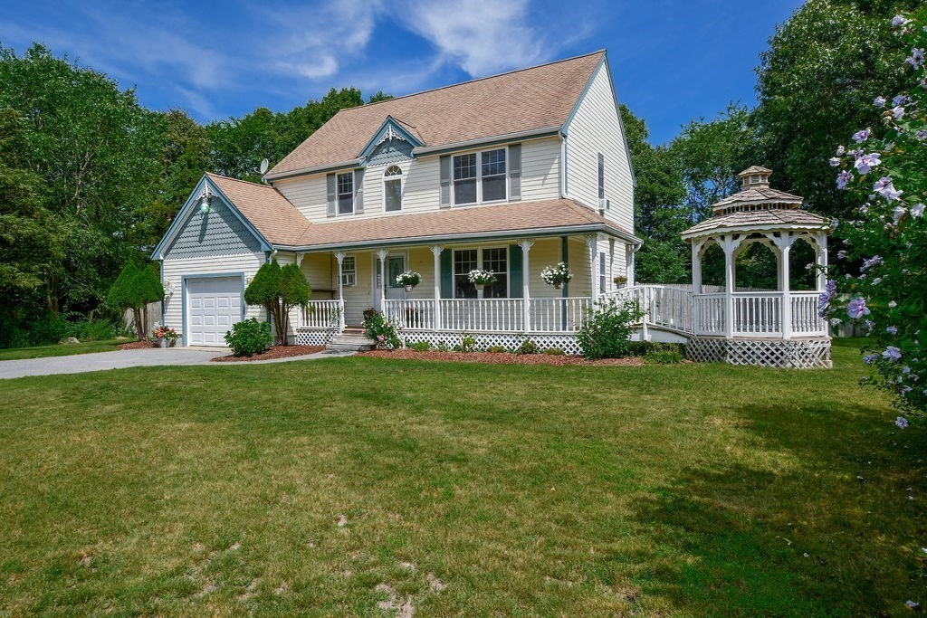 Picture perfect Colonial with a wonderful farmer's porch and gazebo, overlooking a beautiful front yard. The spacious fenced in private back yard is ideal for entertaining. This sought after neighborhood is located close to the brand new Wareham Elementary School. Easy access to 495, close to beaches, Wareham Crossing for plenty of shopping, close to nearby golf courses and marina. Plenty of room outside for you to enjoy cookouts, an evening fire, or perhaps a pool for plenty of summer fun. The master bedroom has a full walk-in closet, wood flooring and a separate entrance to the bathroom. Bonus space in the finished basement for home office, at home gym, or kids play room. Property offers lawn irrigation, including irrigated garden and a wired Generac generator.