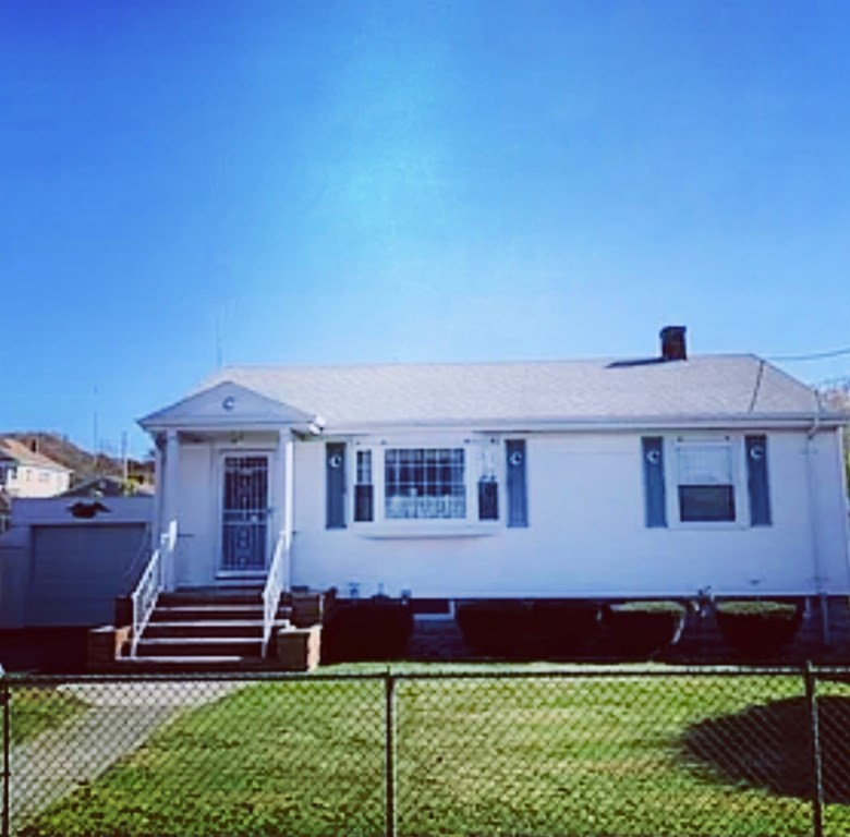 Spacious Vinyl sided Ranch in established neighborhood.  Home offers 2 bedrooms, possible 3rd bedroom. Updated kitchen with coriander countertops, large living room and large great room looking out to level backyard. A/C and Gas Fireplace. One stall garage with attached large shed.