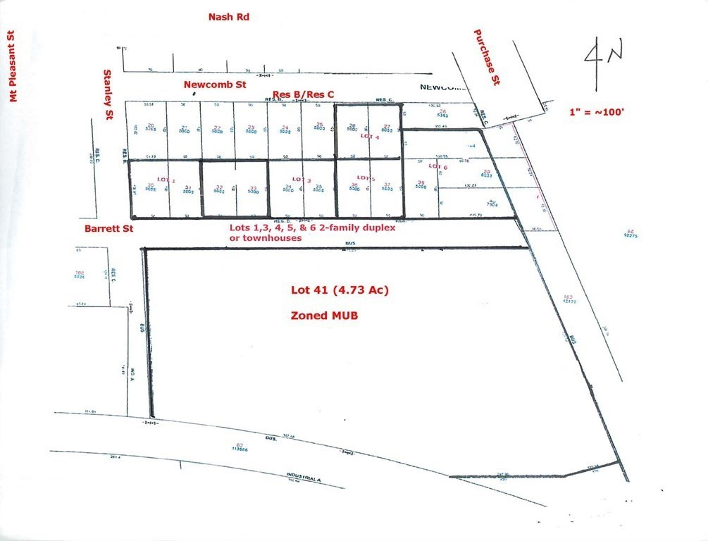 Incredible opportunity. Raw land with various possibilities. Potential to be developed for a combination of 6-7 Single-family or duplex dwellings on RES B/C lots, and 5-6 single-family dwellings (or 4 duplex and 1 multi-family) on the MUB lot. Great location, approximately 1 mile from new Church St. South Coast Rail Station now under construction for opening in 2023.  City, sewer and water are on Barrett St., Stanley St., Nash Road & Purchase St., gas is on Mt. Pleasant and 3-phase electrical is available on industrial land to the east.  Property is being sold AS-IS, WHERE-IS, AS-SEEN.