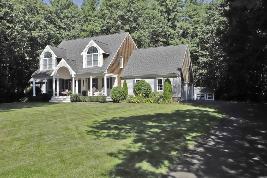 Welcome home to Whispering Pines,one of Middleboro's most sought after neighborhoods!No shortage of curb appeal in this stunning 4 bed, 2.5 bath Cape Cod! Located on a quiet cul-de-sac in an estate-like setting on almost 2 acres, this home offers an expansive canvas. Packed w/all the modern amenities fitting any family's lifestyle,this beautiful design lays out a stunning exterior with classic round columns, a plethora of atrium windows & an exquisite wrap around front porch.From the 2 story foyer enter into a sun filled living room w/ fireplace that opens to the kitchen & dining area. Main level also offers formal dining room,convenient 1st floor laundry w/ half bath, 4th bd or family rm w/ barn door sliders & att. 2 car garage. Upstairs has the master suite w/full bath & walk-in closet, 2 more bedrooms & full bath. Come outdoors to enjoy this peaceful & private setting from the deck. Hardwood floors,SS appliances, granite,irrigation, large shed & more. Only 5 minutes to Route 495 !
