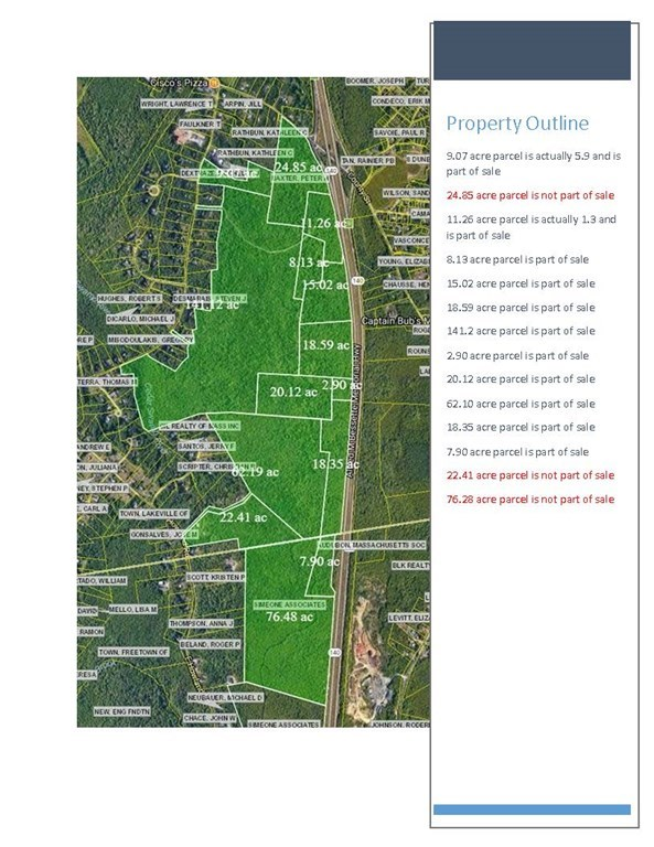 300 +/- acres of wooded residential zoned land undeveloped abutting Route 140 with exit off County Road. Lakeville, MA  approx. 9.07 acres are in eastern side of Freetown, Flood Zone 2.  This parcel can be sub-divided by buyer or can apply for the Development Opportunities District.