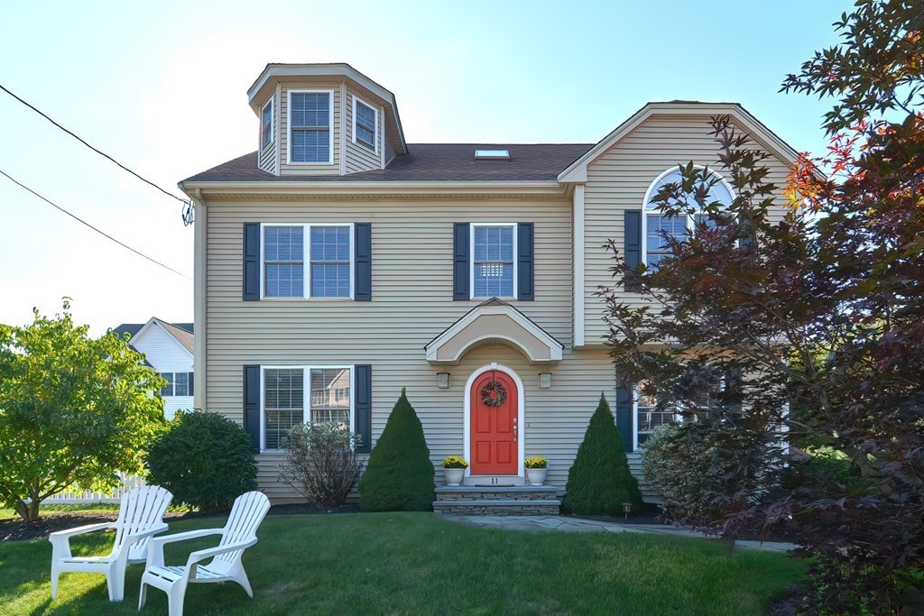 This meticulously maintained 3-4 bedroom custom colonial sits in a beautiful neighborhood on a quiet cul-de-sac. The home is surrounded by a lush lawn & a fully fenced in yard, abutting conservation land. The 1st floor features hdwd flooring throughout, a bright family room w/ gas fireplace, custom kitchen complete w/ granite countertops, SS appliances & a plethora of cabinet space, a breakfast nook w/ egress to the large deck. There is also a formal dining room, a living room/office flex space w/ a tray ceiling and custom uplighting with glass pocket doors, as well as a half bath & laundry. Upstairs you will find the master ensuite w/ cathedral ceilings, a W.I.C. & master bath w/ a custom tile shower. There are 2 additional bedrooms & full bath w/ double vanity. On the 3rd floor there is a large bonus room, perfect as a 4th bedroom, or office space, as well as another full bath. Additional features: irrigation, c/a, well appointed patio w/ fire pit & so much