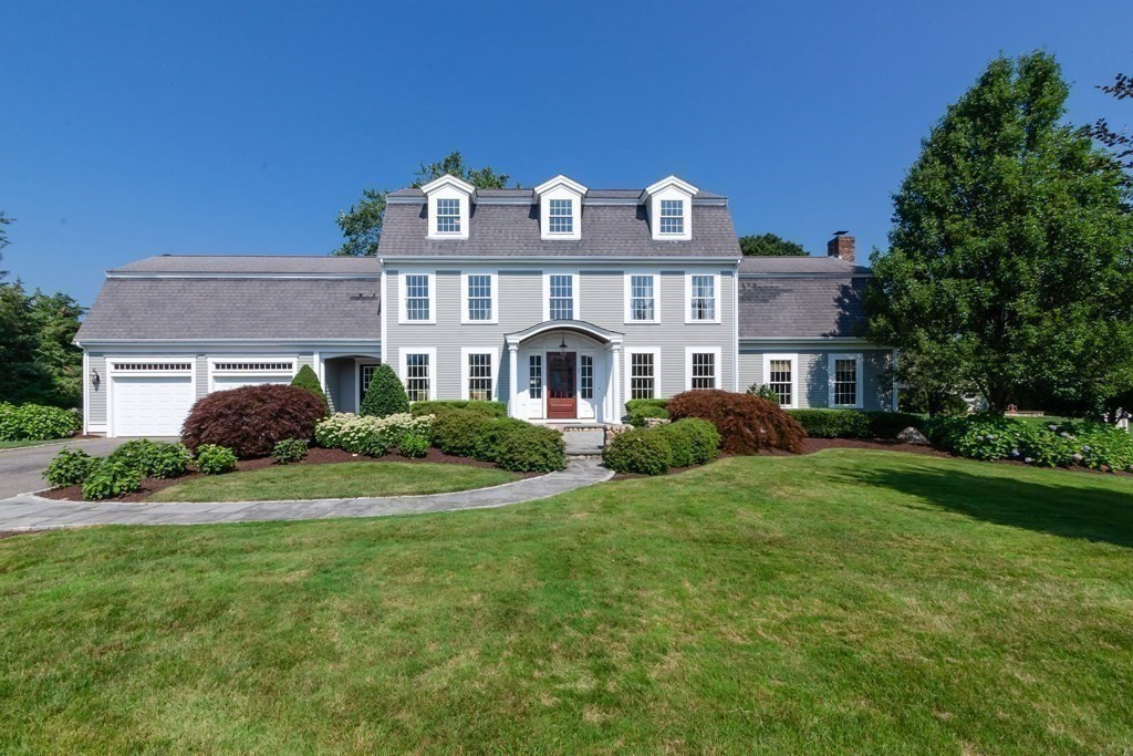 This impeccably maintained four bedroom home is located in a highly desirable, private neighborhood on a cul-du-sac and offers a lovely coastal retreat in the picturesque town of Mattapoisett.   This light filled residence measures 4485 sq ft on three levels with a flexible layout to live and work in comfort. The ground floor features an eat kitchen with center island opening to patio surrounded by mature landscaping. The kitchen opens to both the formal dining room and the oversized family room with fireplace.  Another first floor room can be used as a sitting area or office. Upstairs are three good sized bedrooms with a large walk-in master closet and ensuite bathroom and hall bath. On the third level there is an additional bedroom or office, bathroom,  and a large entertainment room with custom built-ins and peekaboo views of the ocean. Turnkey.