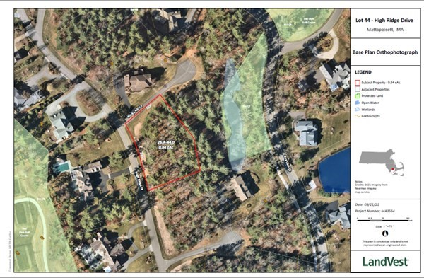 One of the last remaining buildable lots in the Bay Club of Mattapoisett, this generous .84  acre lot sits prominently on High Ridge Drive, surrounded by luxury homes. This site offers underground utilities to include natural gas, electric, fiber optic cable and Town water and sewer. The Bay Club features an optional golf or social membership opportunity that includes an 18 hole Audubon Sanctuary championship golf course designed by Faxon-Booth, practice range, winter golf center, 4 har-tru tennis courts, paddle ball, pool, fitness center, fine dining, basketball court, pickle ball, kids summer camps, and social events. The community is a gated 625 acre site where nature and gracious living harmonize to provide an exceptional living experience. This lot can be combined with the adjacent parcel measuring  an additional .86 acres.